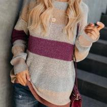 Fashion Casual Color Matching Long And Loose Knit Sweater