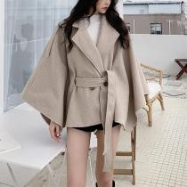 Fashion Belted Pure Colour Slim Long Sleeve Coat