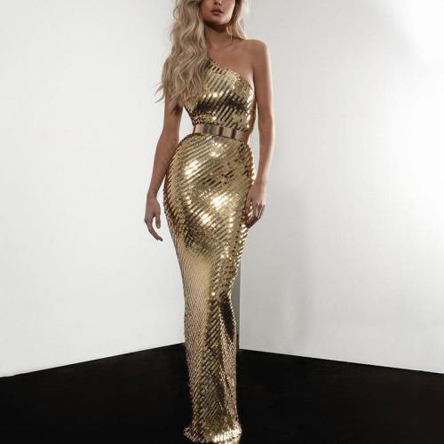Sexy Single Off Shoulder Collar Solid Color Waist Slim Dress