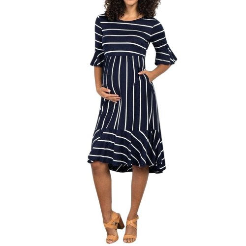 2020  Women Maternity Dresses Mother pregnancy dress Flare Sleeve Striped Pregnancy Summer Sundress pregnant dress