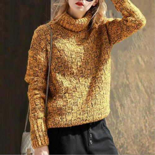 Pure Color Turtleneck Long Sleeve Knitting Sweater