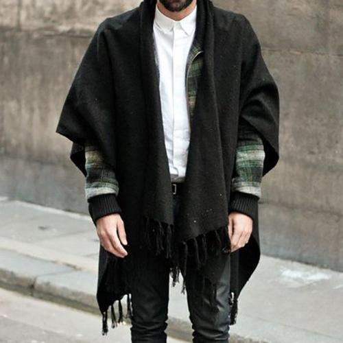 Men's Solid Color Tassel Shawl