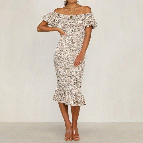 Single Neck Print Holiday Basic Casual Dress