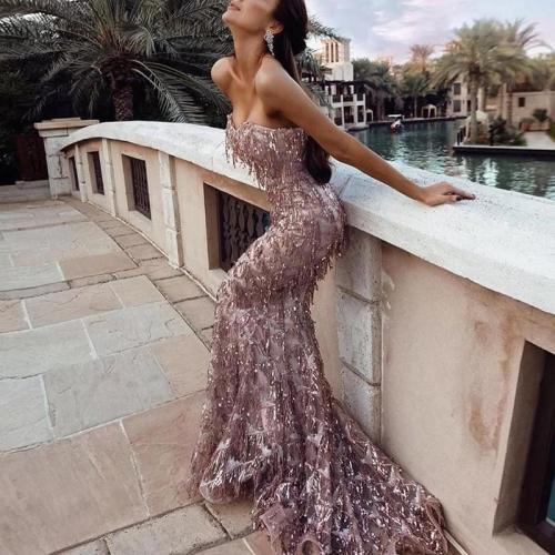 Women's Elegant Boat Neck Sequin Resist Evening Dress