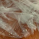 Fashion Pearls Beaded Bridal Wedding Veil With Comb 3 M White Ivory Long Tulle Wedding Accessories Bride Wedding Veils