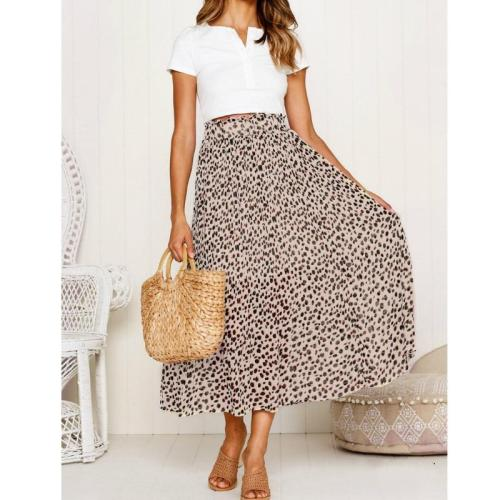 2019 Vintage Leopard Print Long Skirts Women Summer Skirt Fashion High Waist Chiffon Beach Skirt