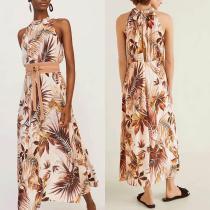 Summer Off Shoulder Floral Printed Maxi Dress