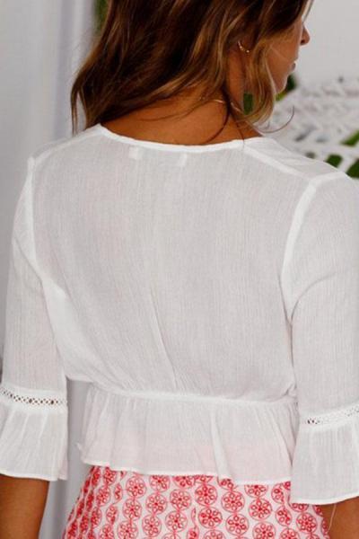 Deep V Neck  Exposed Navel  Plain  Bell Sleeve  Blouses