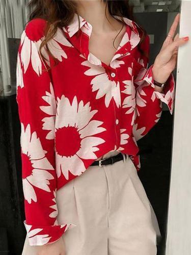 Fashion Long Sleeve Loose Floral Print Loose Shirt