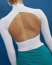 Mock Neck Open Back Top