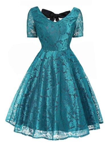 1950s Floral Back Lace Up Dress