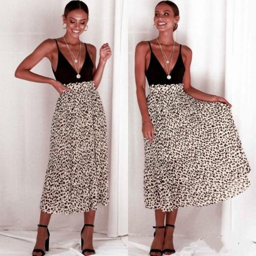 2019 Vintage Leopard Print Long Skirts Women Summer Skirt Fashion High Waist Chiffon Beach Skirt