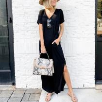 Summer Leisure Split Maxi Dress