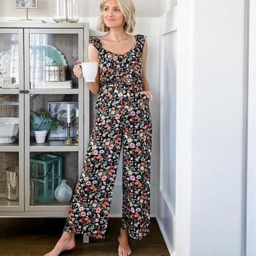 EBUYTIDE Elegant Floral Slim Fit Sleeveless Wide Leg Jumpsuit