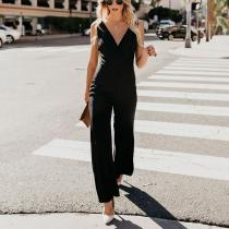Sexy Pure Color Sleeveless V-Neck Sling Jumpsuit