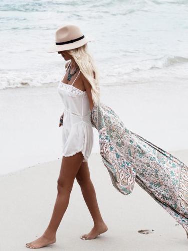 Green Floral Print Chiffon Bohemia Beach Long Cardigan Tops
