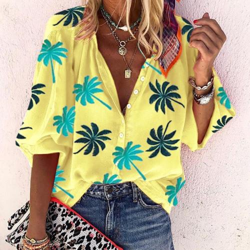 Casual Women Nine Points Sleeve Printed Shirts