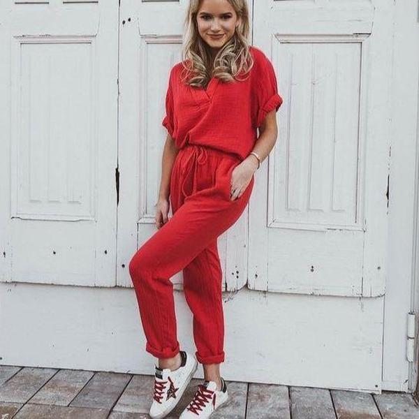 EBUYTIDE Stunning Red Short Sleeve Drawstring Jumpsuit