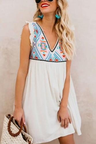 Casual Printed Colour Sleeveless Mini Dresses