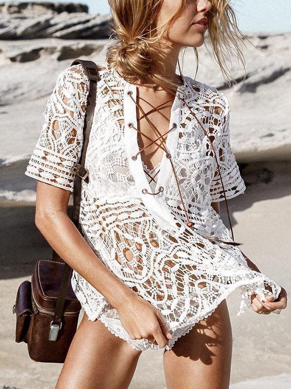 Crocheto Hollow Bikini Cover-up Swimwear