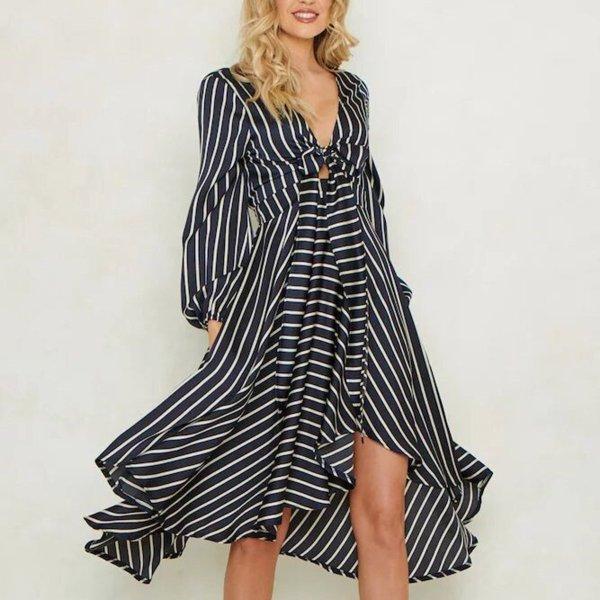 Fashion Stripe Long Sleeve V-Neck Casual Dress
