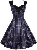Dark Blue 1950s Plaid Patchwork Dress