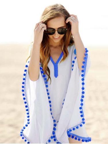Simple Fashion with Tassels V Neck Beach Dress Mini Dress