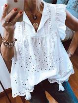 Fashion V Neck Lotus Leaf Sleeve Bud Shirt