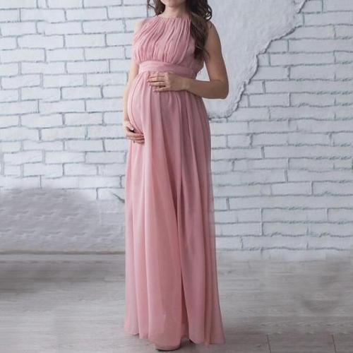 Maternity Sleeveless Chiffon Full Length Dress