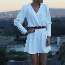 Fashion Button Sleeves Mini Dress