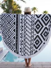 Beautiful Black and White Bohemia Round Shawl Beach Mat