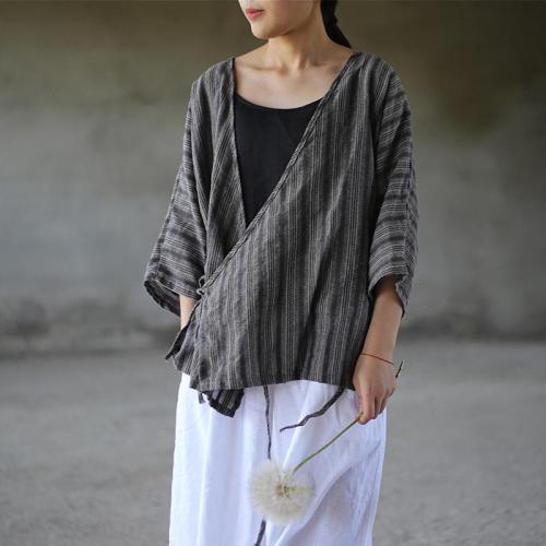 Striped V Neck Wrap Cotton Linen Shirt