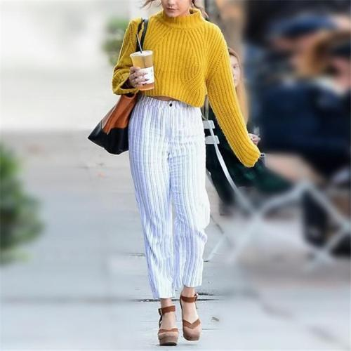 Fashion Casual  High Collar And Short Style Long Sleeve Knitted Sweater