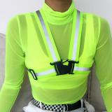 High Collar Fluorescent Color Crop Tops Tees Transparent Mesh T Shirts Long Sleeve  Short Paragraph Sunscreen Shirt with Reflect
