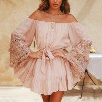 Sexy Fashion Pink Lace Off Shoulder Mini Dress