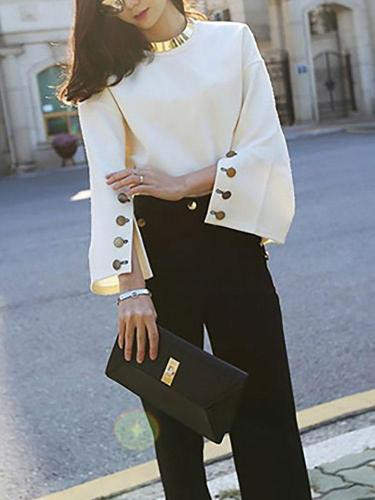 Fashion Round Neck Bell Sleeve blouse  Suede Sweater