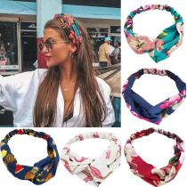 Fashion Women Girls   Bohemian Hair Bands Print Headbands Vintage Cross Turban Bandage Bandanas HairBands Hair Accessories