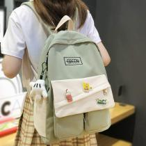 Book Fashion Lady Kawaii Backpack Waterproof Nylon Girl School Bag College Female Cute Backpack Badge Women Harajuku Bag Student