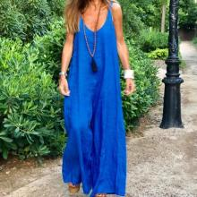 EBUYTIDE Temperament Royal Blue Sling Loose Jumpsuit