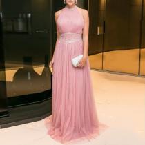 Fashion Round Neck Sleeveless   Slim Dress
