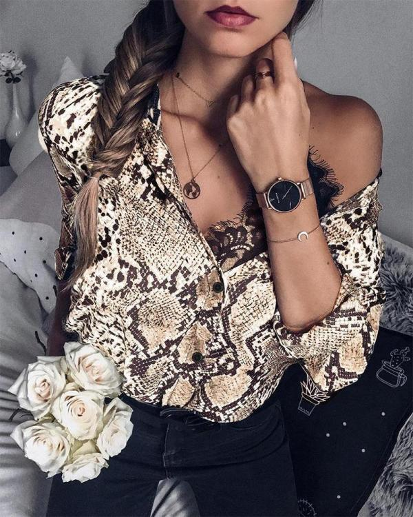 Snake Print Button Up Shirt