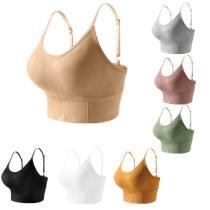 EBUYTIDE Women Sport Bra Fitness Yoga Tops Solid Padded Breathable Quick Drt Sports Cropped Tops Female Sport Yoga Bra Push Up Straps
