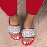 Crystal Open Toe Slip-On Flat Slide Slippers