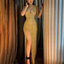 Sexy Deep V Halter Tight Gold Evening Dress