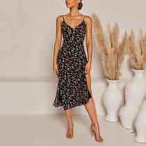 V-neck Floral Print Backless Side Splits Dress