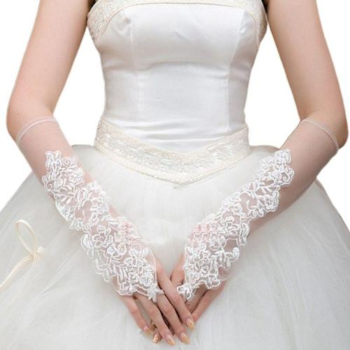 Womens Romantic Sheer Mesh Fingerless Long Gloves Embroidery Floral Lace Applique Sunscreen Wedding Bridal Mittens