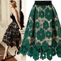 Good Quality 2019 Summer High Elastic Waist Lace Skirt Women Vintage Floral Crochet Hollow Out Ball Gown A-Line Mid-calf Skirt