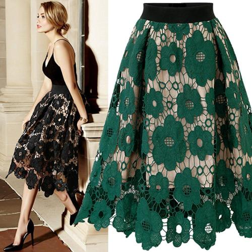 Good Quality 2019 Summer High Elastic Waist Lace Skirt Women Vintage Floral Crochet Hollow Out Ball Gown A-Line Mid-calf Skirt