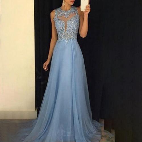 Solid Color Mesh Sequin Evening Dress