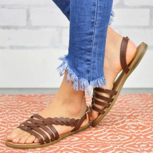 Pairmore Plain Flat Peep Toe Casual Date Flat Sandals